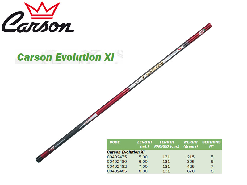 Carson Evolution XI Telescopic Pole (5.00m, Weight: 215gr)