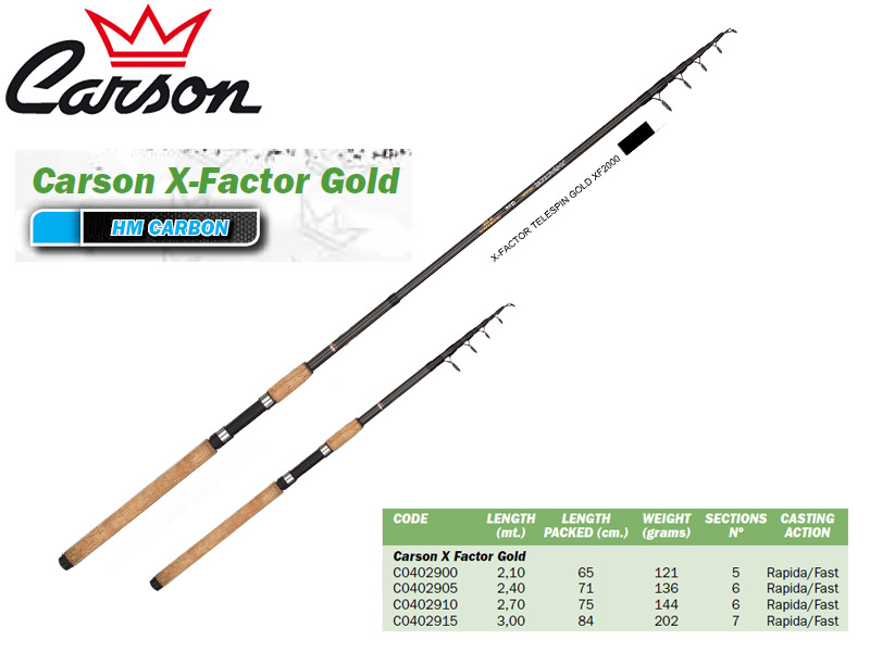 Carson X Factor Gold Spinning Rod (3.00m, Action: Fast)