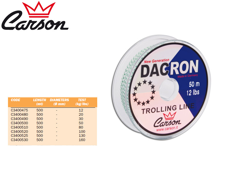 Carson Dacron Braided Lines (Test: 50lbs, Length: 500m)