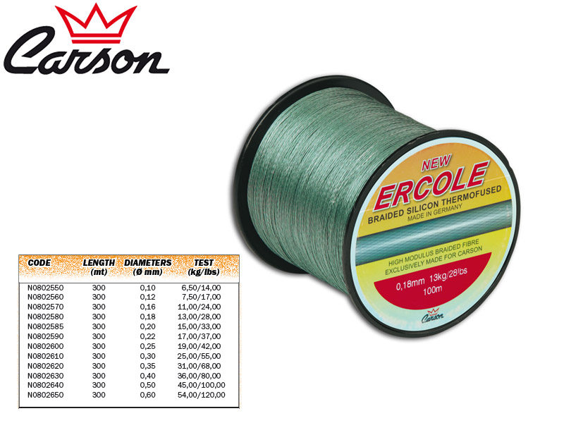 Carson Ercole Braided Lines (Size: 0,18mm, Test(kg/lbs): 13,00/28,00, Length: 300m)
