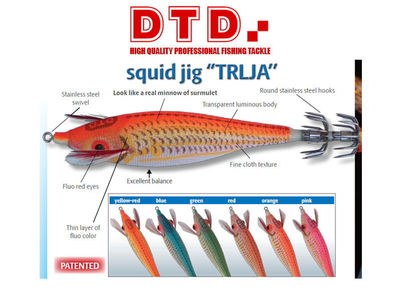 DTD Squid Jig Trlja (Size:2.0, Colour: Yellow-Red)
