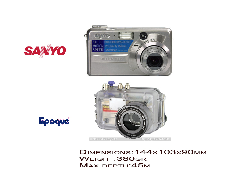Sanyo digital cameras DSC-MZ3 with Epoque underwater housing EHS-300