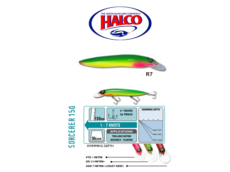 Halco Sorcerer 150XDD (150mm, 30g, Color: R7)