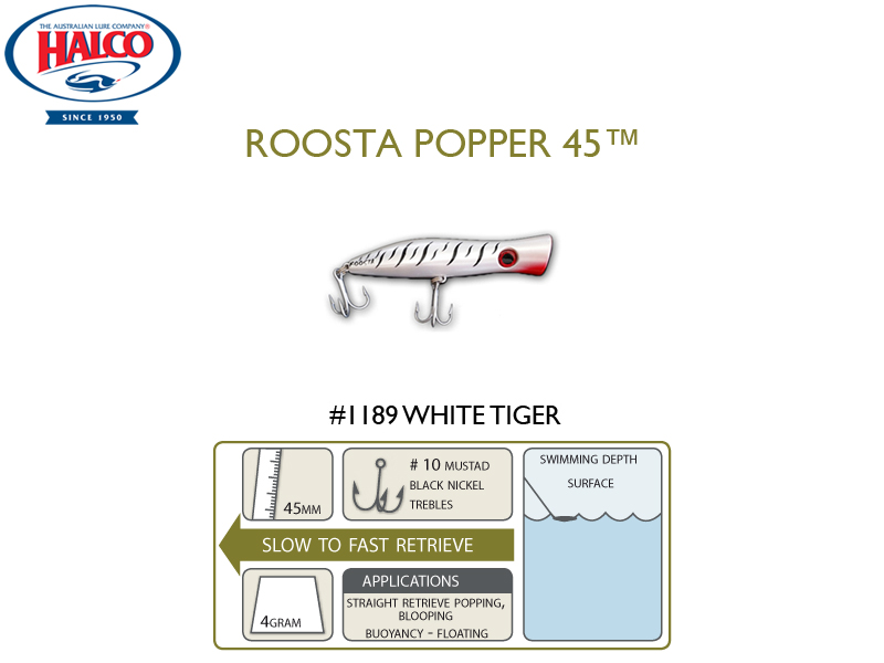 Halco Roosta Popper 45 (Length: 45mm, Weight: 4gr, Color: 1189)