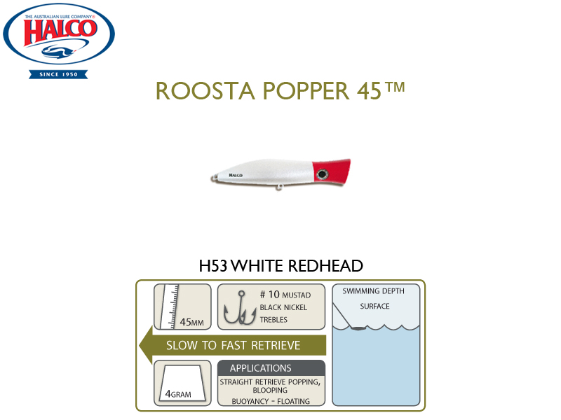 Halco Roosta Popper 45 (Length: 45mm, Weight: 4gr, Color: H53)