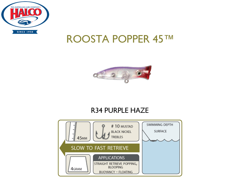 Halco Roosta Popper 45 (Length: 45mm, Weight: 4gr, Color: R34)
