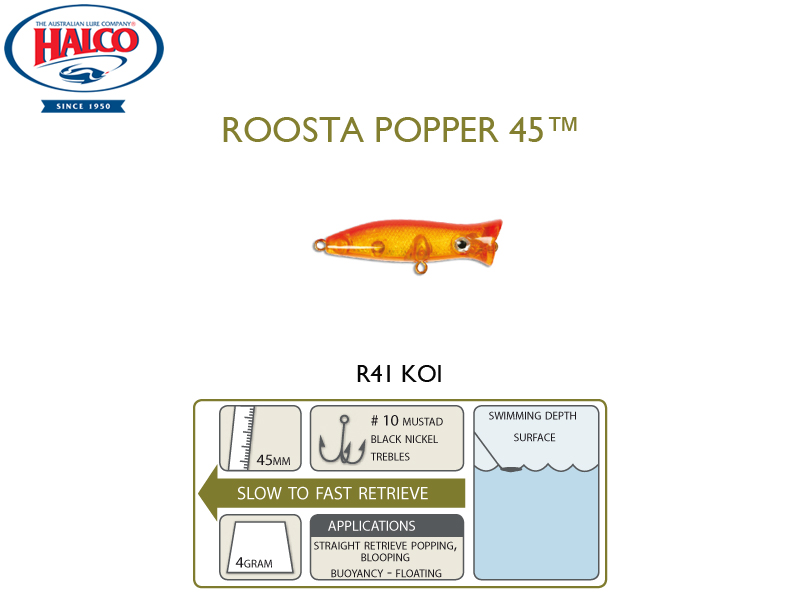 Halco Roosta Popper 45 (Length: 45mm, Weight: 4gr, Color: R41)