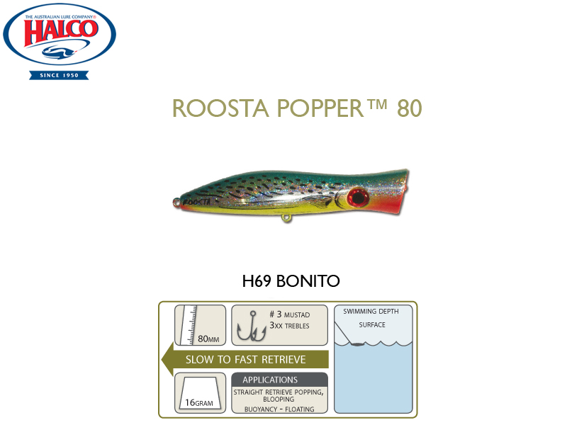 Halco Roosta Popper 80 (Length: 80mm, Weight: 16gr, Color: H69)