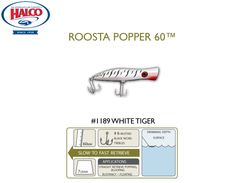 Halco Roosta Popper 60 (Length: 60mm, Weight: 7gr, Color: 1189)