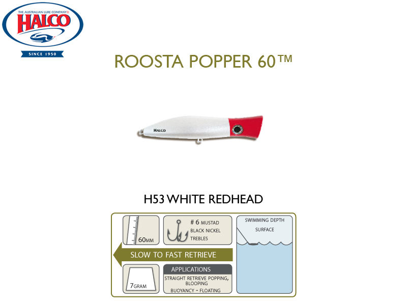 Halco Roosta Popper 60 (Length: 60mm, Weight: 7gr, Color: H53)