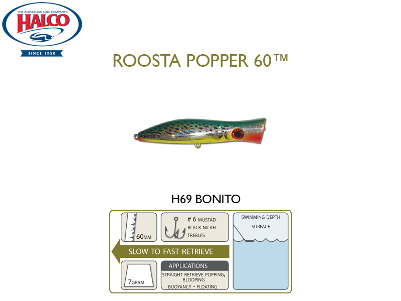 Halco Roosta Popper 60 (Length: 60mm, Weight: 7gr, Color: H69)