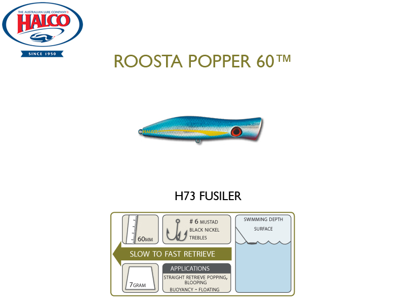 Halco Roosta Popper 60 (Length: 60mm, Weight: 7gr, Color: H73)