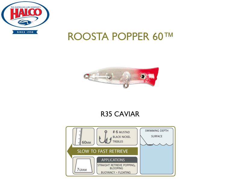 Halco Roosta Popper 60 (Length: 60mm, Weight: 7gr, Color: R35)