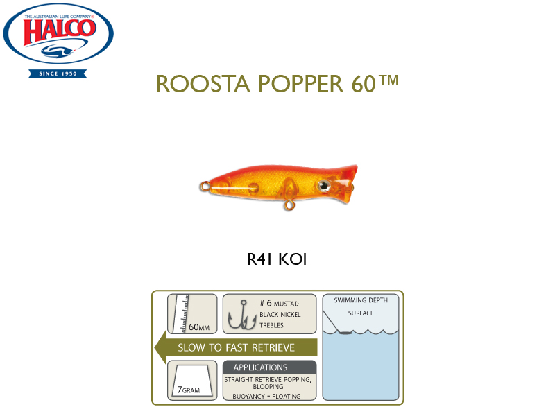 Halco Roosta Popper 60 (Length: 60mm, Weight: 7gr, Color: R41)