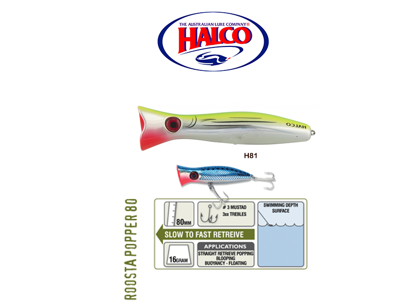 Halco Roosta Popper 80 (Length: 80mm, Weight: 16gr, Color: H81)