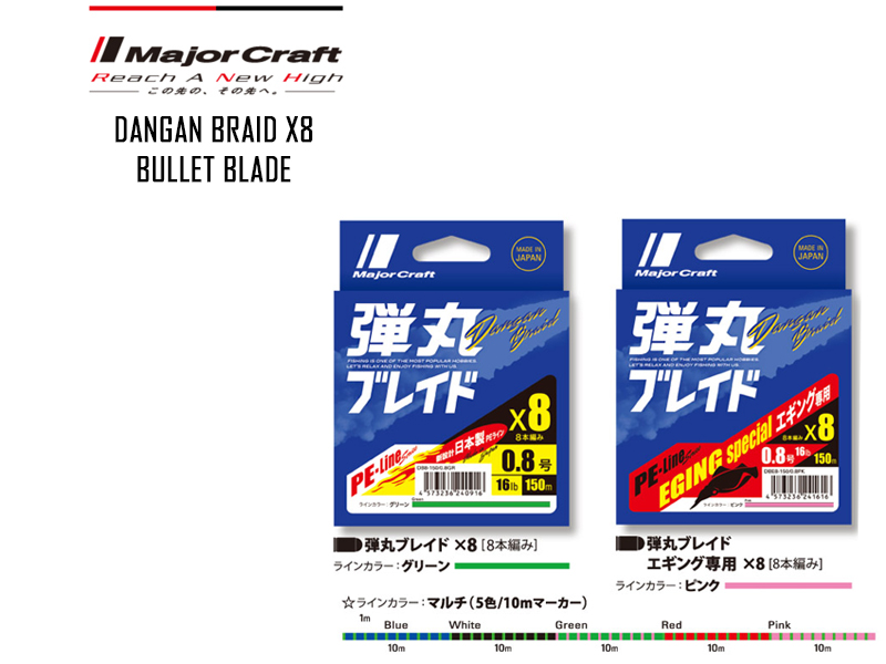 Major Craft Dangan Braid X8 (P.E: 0.8, Length: 200mt, Color: Green)