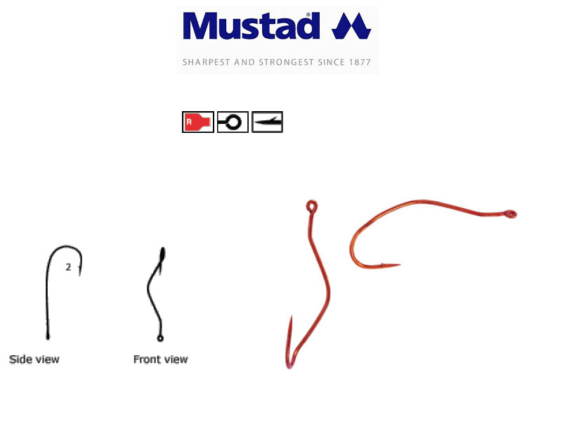 Mustad 33862NP-RB Ultra Point Slow Death Hooks (Size: 1, Pack: 10)