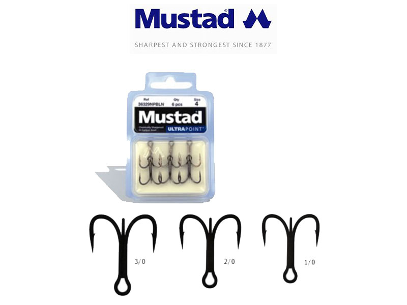 Mustad 36329NPBLN Forged Treble (Size: 1/0, Pack: 6)