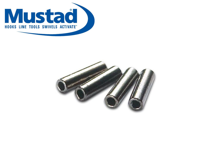 Mustad black brass single sleeves length 5mm for Fishing line crimps