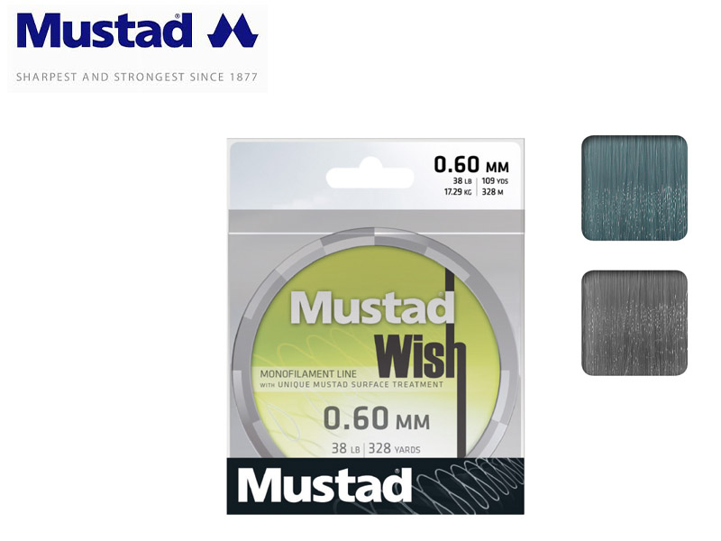 Mustad Wish Smoke Monofilament 300mt (Size:0.50mm, Test: 12.74kg)