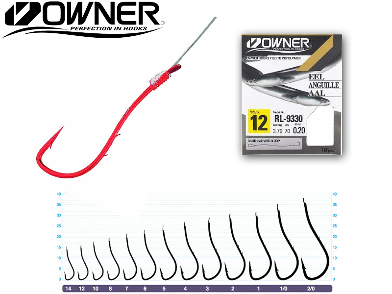 Owner RL-9330 Baitholder Pre-Tied Hooks (Size:10, Line Diameter: 0.25mm, Line Length: 70cm, Qty: 10pcs)
