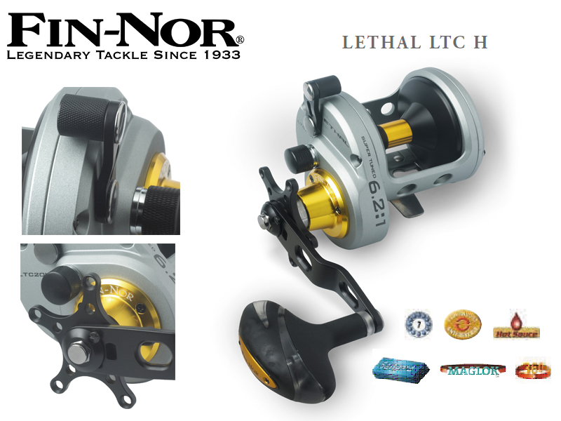 Fin-Nor Lethal LTC H (Model: 30, m / mm: 330 / 0,65, Gear Ratio: 6.2:1, Retrieve: 124 cm, BB: 7, Drag F.: 25 lbs, Weight: 708g)