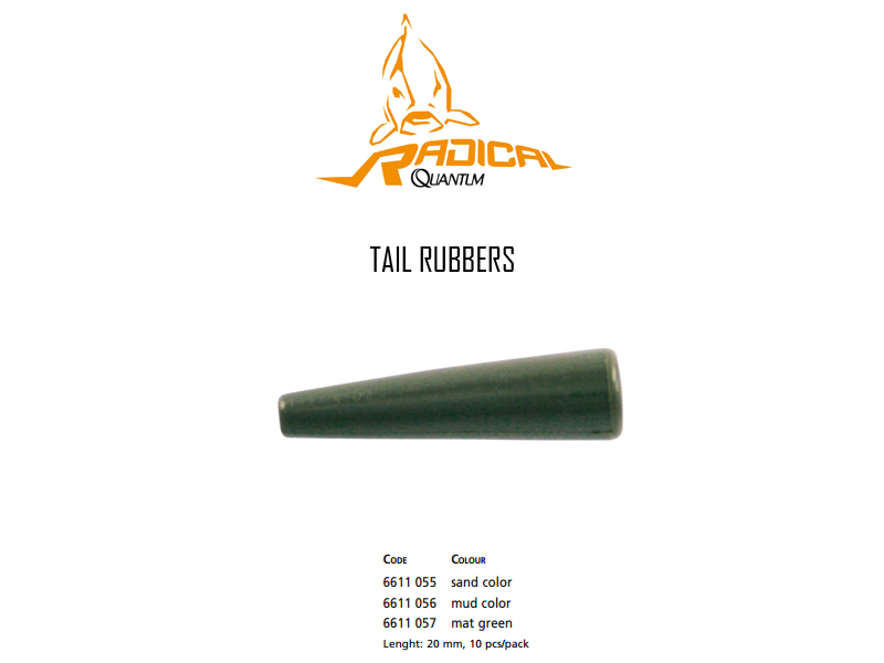 Quantum Radical Tail Rubbers (Colour: Mat Green, Length: 20mm, Pack: 10pcs)