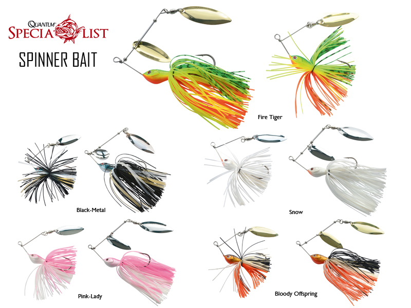 Quantum Spinnerbaits (Size: 10cm, Weight: 15gr, Colour: Black-Metal)