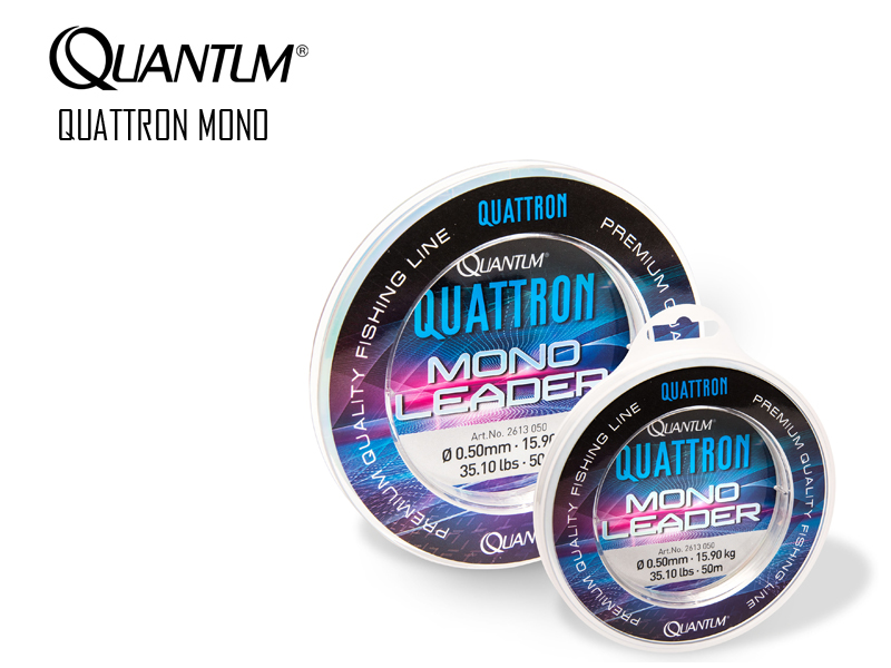 Quantum Quattron Mono leader (Size: 0.50mm, Breaking Strength: 15.90kg, Length: 50mt)