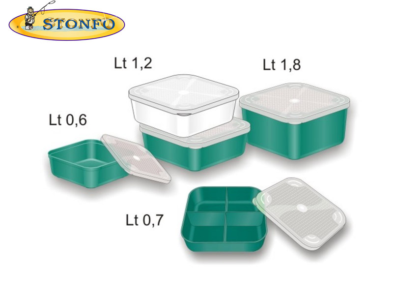 Stonfo Square Bait Boxes (Size: 0.7lt - 4 compartments)