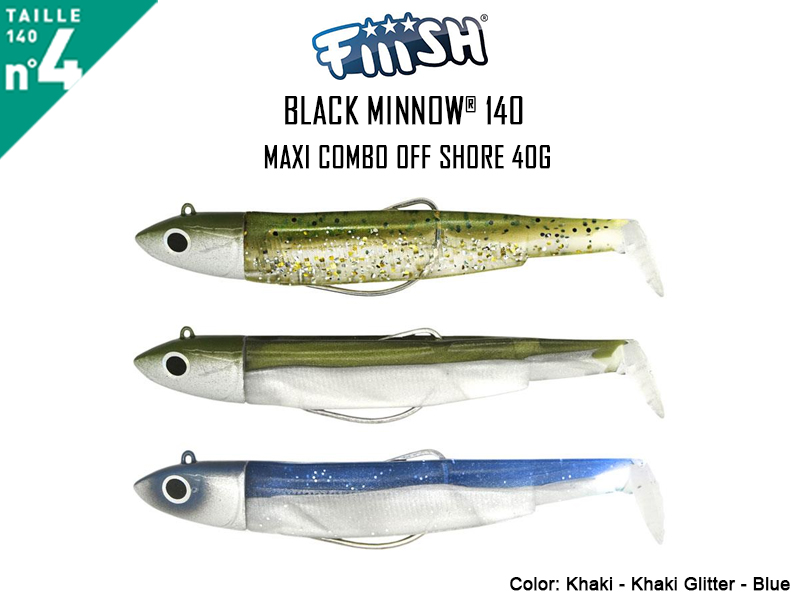FIIISH Black Minnow 140 - Maxi Combo Off Shore (Weight: 40gr, Color: Khaki - Khaki Glitter - Blue)