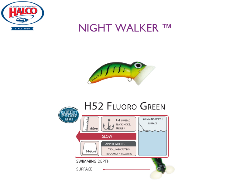 Halco Night Walker (Length: 65mm, Weight: 14gr, Color: H52 Fluoro Green)