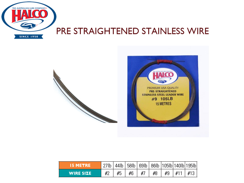 Halco Pre Straightened Stainless Wire (Length: 15mt, Wire Size:#9, Breaking Point: 105lb)