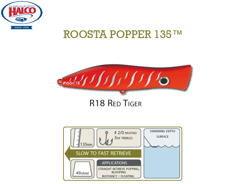 Halco Roosta Popper 135 (135mm, 47gr, Color: R18)