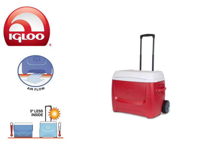 Igloo Cooler Ice Breeze 60 Roller (Red, 57 liters)