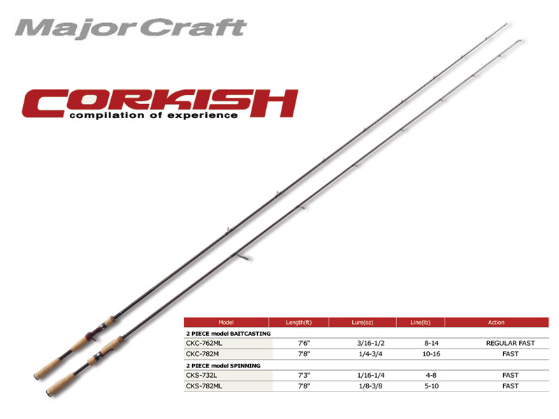 MajorCraft Corkish Baitcasting CKC-762ML (2.32mt, 3/16-1/2 oz)