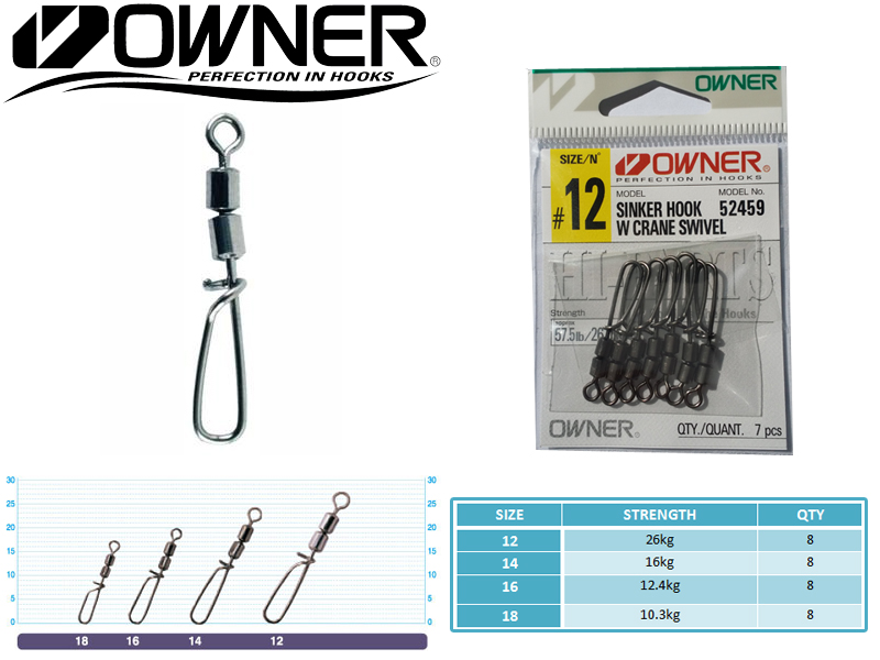 Owner 52459 Sinker Hook With Crane Swivel (Size: 16, Strength: 12.4kg, Qty: 8pcs)