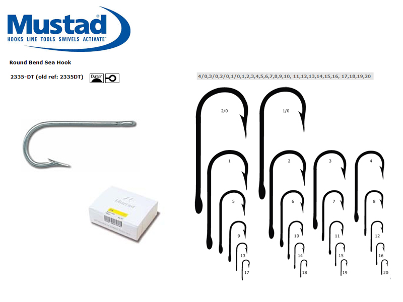 Mustad 2335-DT Round Bend Sea Hook (Size: 7, Qty: 100pcs)