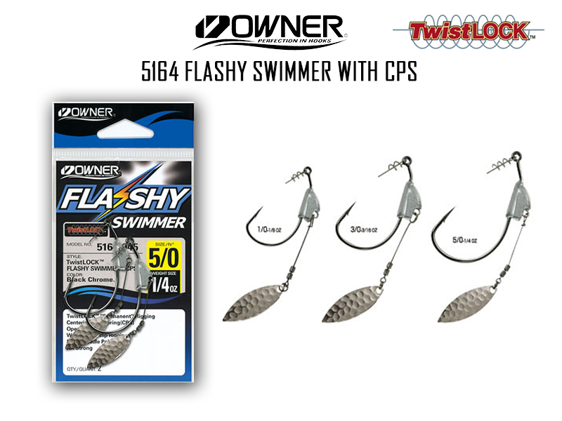 Owner 5164 Flashy Swimmer with CPS (Weight: 1/4oz, Hook Size: 5/0, Pack: 2pcs)