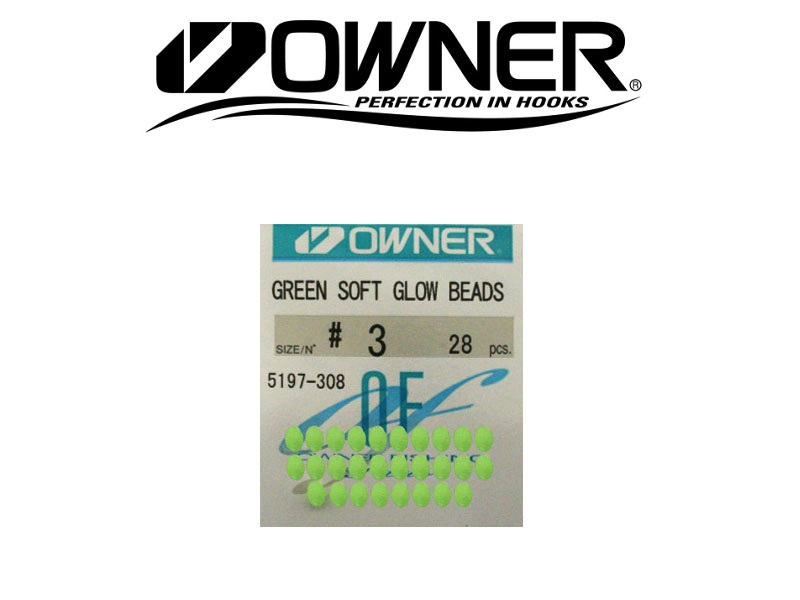 Owner 5197 Soft Glow Beads Green (#3, 28pcs)