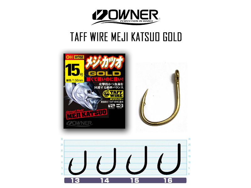 Owner 16540 Taff Wire Meji Katsuo Gold (Size:13, Pack: 6pcs)