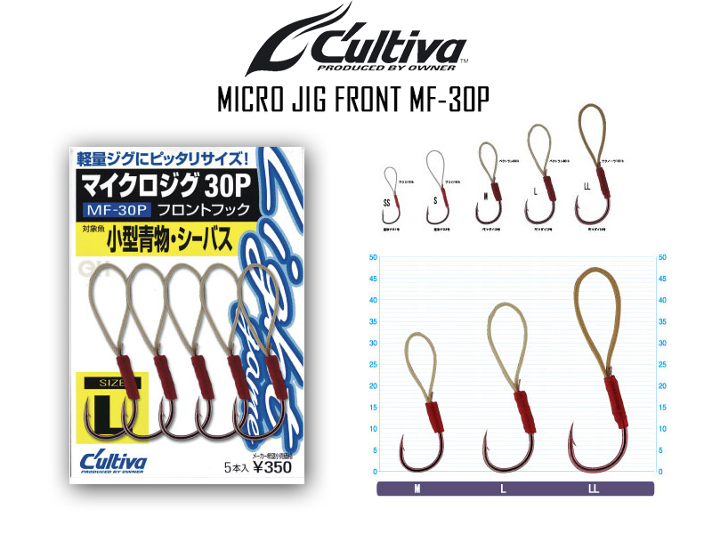 Cultiva Micro Jig Front MF-30P (Size: L, Pack: 5pcs)