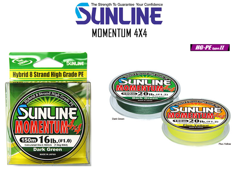 Sunline Momentum 4X4 ( Length: 150mt, PE: 3.0, Color: Dark Green)