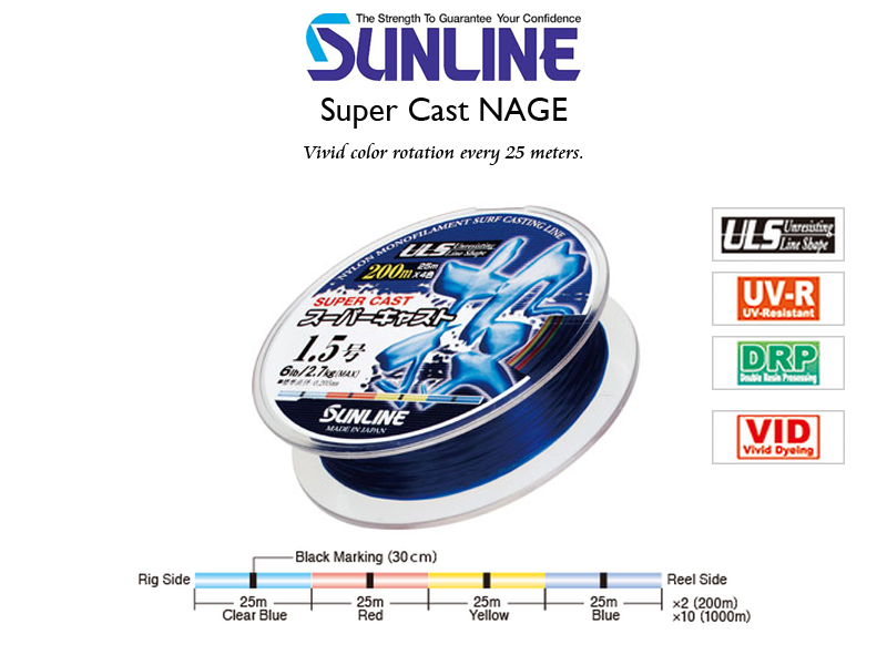Sunline Super Cast Nage (Length: 200mt, Color: Multicolor, PE: #3.0, Ø: 0.285mm, Strength: 12LB )